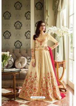 Wonderful Cream Mulberry Silk Designer Floor Length Suit