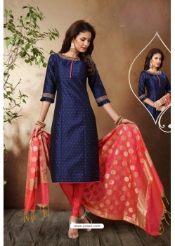 Navy Blue Tafetta Silk Hand Embroidered Designer Churidar Suit