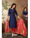 Navy Blue Tafetta Silk Hand Embroidered Designer Churidar Suit