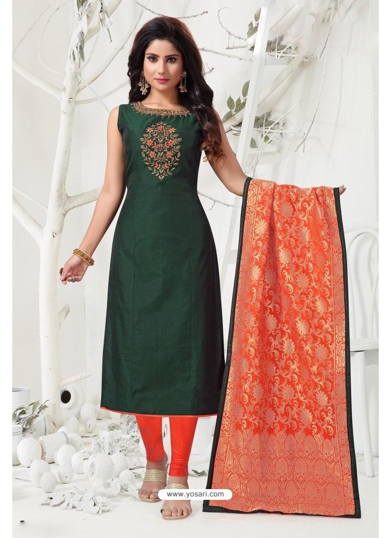 Dark Green Tafetta Silk Embroidered Designer Churidar Suit