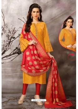 Yellow Tafetta Silk Designer Churidar Suit