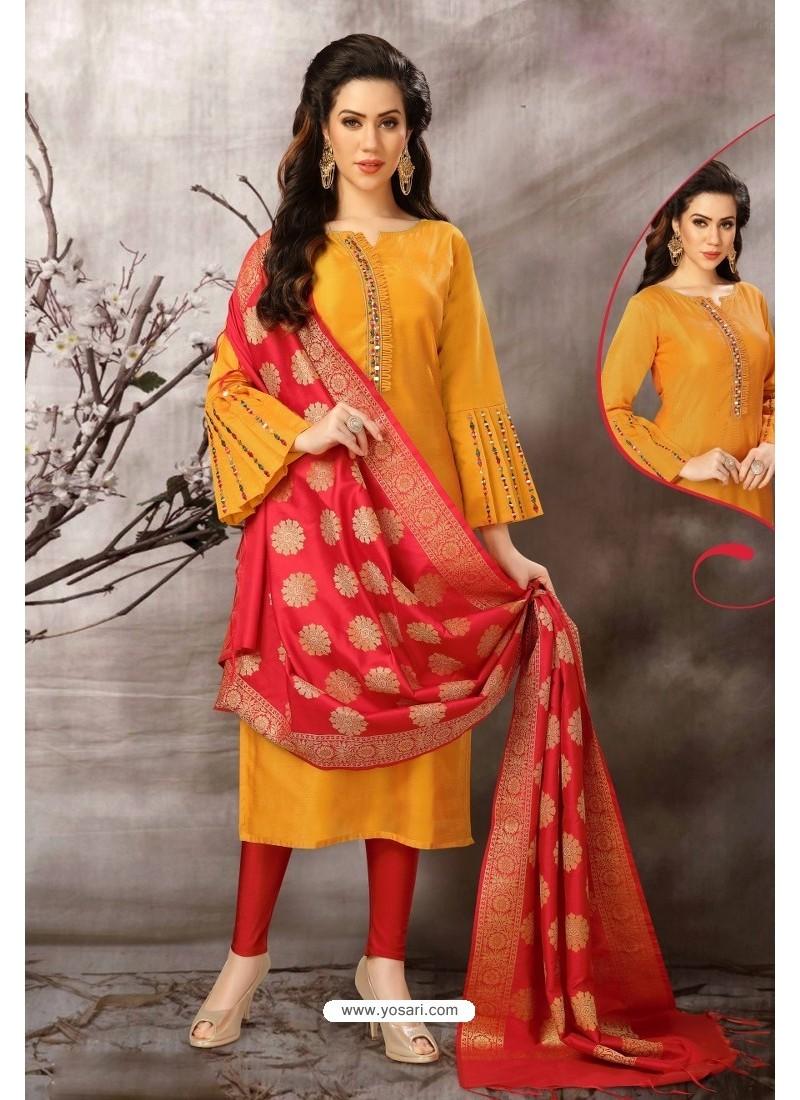 Yellow Tafetta Silk Designer Churidar Suit