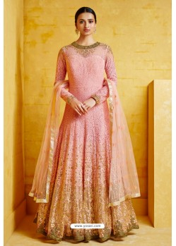 Pink Heavy Georgette Embroidered Designer Floor Length Suit