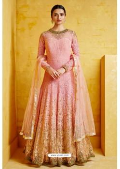 Pink Heavy Georgette Embroidered Designer Floor Length Suit