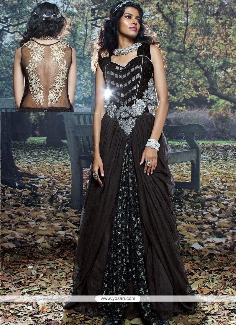 Monumental Net Brasso Black Resham Work Designer Gown