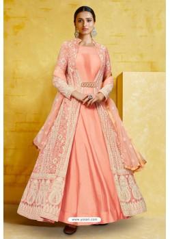 Peach Heavy Georgette Designer Anarkali Suit