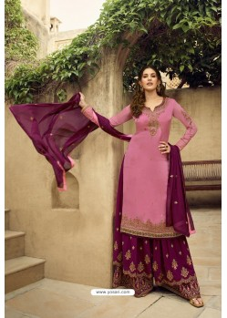 Hot Pink And Purple Satin Georgette Designer Palazzo Suit