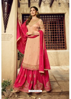 Gold And Rani Satin Georgette Designer Palazzo Suit