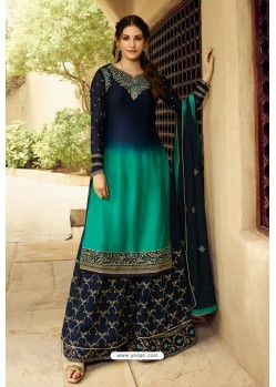 Navy Blue Satin Georgette Designer Palazzo Suit