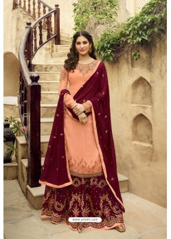 Light Orange And Maroon Satin Georgette Designer Palazzo Suit