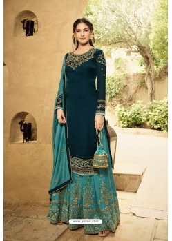Peacock Blue Satin Georgette Designer Palazzo Suit