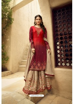 Red And Beige Satin Georgette Designer Palazzo Suit