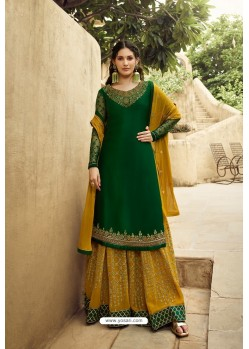 Dark Green And Mustard Satin Georgette Designer Palazzo Suit