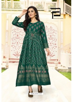 Dark Green Rayon Printed Readymade Gown