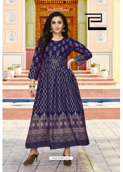 Navy Blue Rayon Printed Readymade Gown