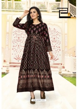 Brown Rayon Printed Readymade Gown