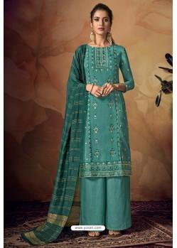 Turquoise Viscose Banarasi Palazzo Suit