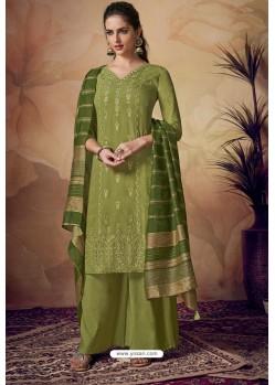 Green Viscose Banarasi Palazzo Suit