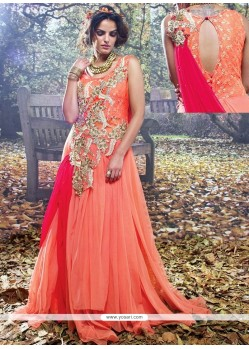 Excellent Orange And Pink Resham Work Designer Gown