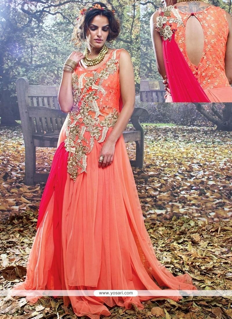Excellent Orange And Pink Resham Work Designer Gown