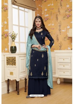 Navy Blue Satin Georgette Embroidered Palazzo Suit