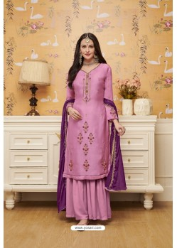 Light Pink Satin Georgette Embroidered Palazzo Suit