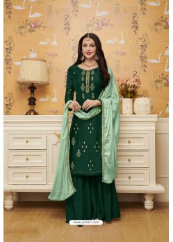 Dark Green Satin Georgette Embroidered Palazzo Suit