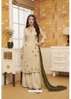 Light Beige Satin Georgette Embroidered Palazzo Suit