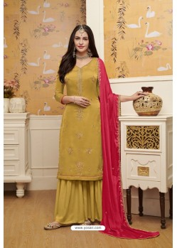 Yellow Satin Georgette Embroidered Palazzo Suit