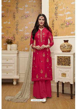 Red Satin Georgette Embroidered Palazzo Suit