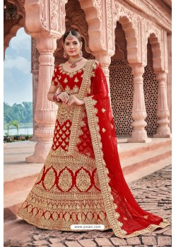 Red Velvet Embroidered And Stone Worked Lehenga Choli