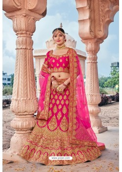 Fuchsia Silk Embroidered And Stone Worked Lehenga Choli