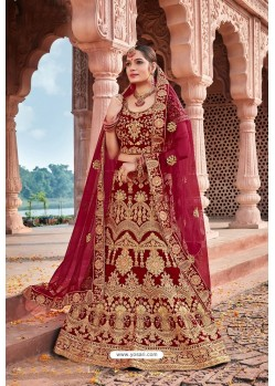 Maroon Velvet Embroidered And Stone Worked Lehenga Choli