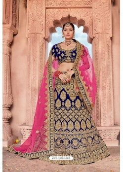 Navy Blue Velvet Embroidered And Stone Worked Lehenga Choli