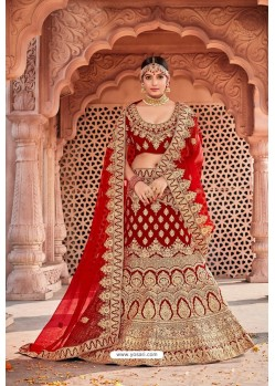 Latest Red Velvet Embroidered And Stone Worked Lehenga Choli