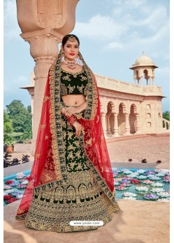 Dark Green Velvet Embroidered And Stone Worked Lehenga Choli