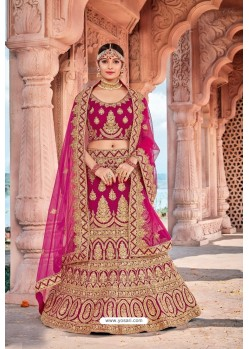 Rani Velvet Embroidered And Stone Worked Lehenga Choli