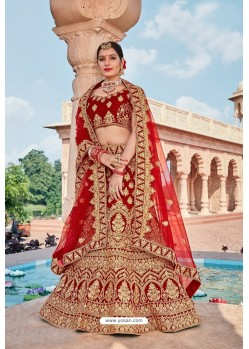Trendy Red Velvet Embroidered And Stone Worked Lehenga Choli