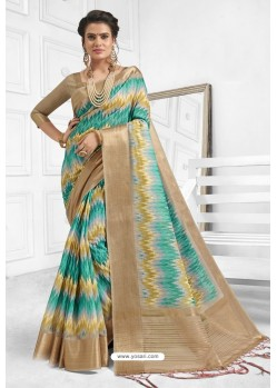 Markable Multi Colour Cotton Weaving Worked Saree