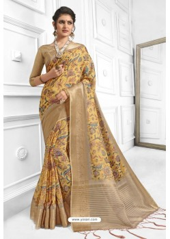 Yellow Cotton Weaving Worked Saree