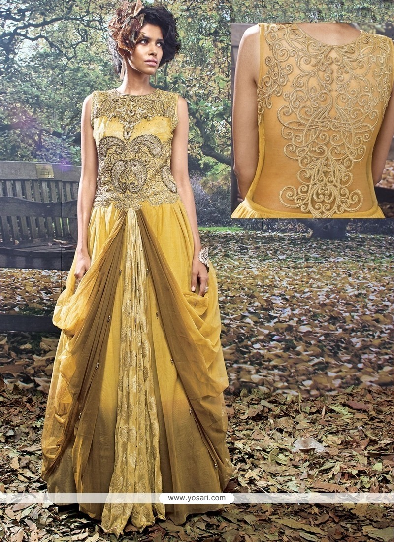 Miraculous Resham Work Net Mustard And Brown Designer Gown