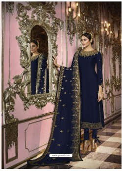 Navy Blue Faux Georgette Embroidered Straight Suit