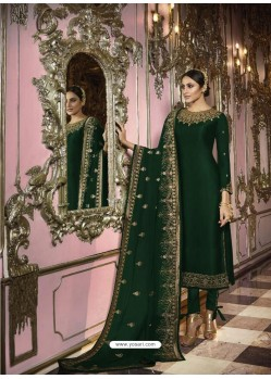 Dark Green Faux Georgette Embroidered Straight Suit