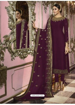 Purple Faux Georgette Embroidered Straight Suit