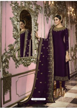 Violet Faux Georgette Embroidered Straight Suit