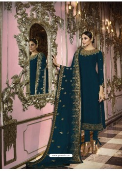 Teal Blue Faux Georgette Embroidered Straight Suit