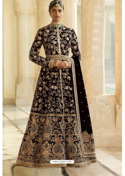 Black Velvet Beautiful Embroidered Anarkali Suit