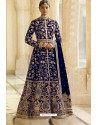Royal Blue Velvet Beautiful Embroidered Anarkali Suit