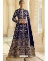 Royal Blue Velvet Beautiful Embroidered Anarkali Suit