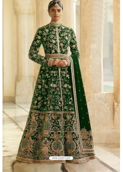 Dark Green Velvet Beautiful Embroidered Anarkali Suit